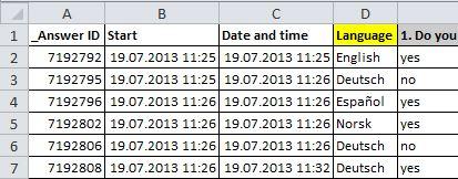 Language in raw data export