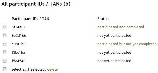 Status Participant IDs