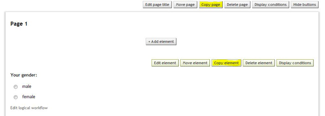 Copy element or page