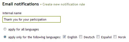 Email notification per language